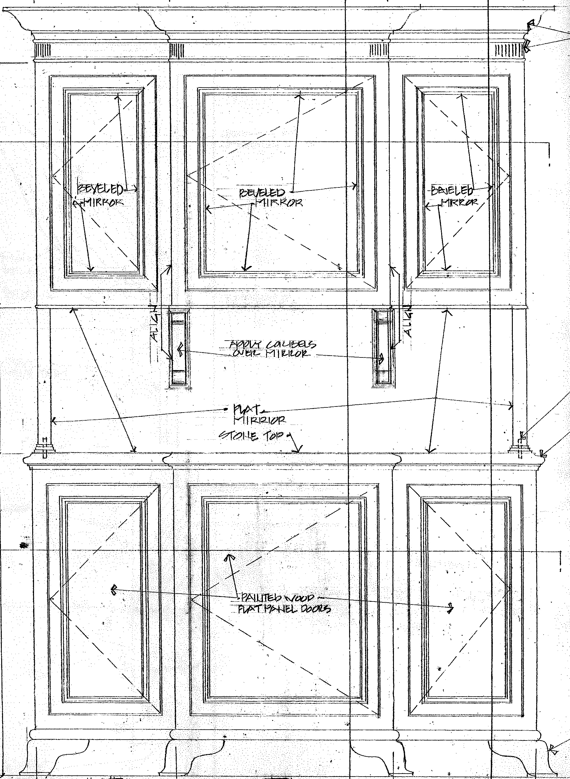 The story design of a dining room hutch wilson kelsey for Dining room elevation